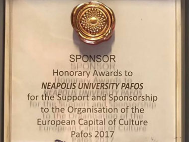Neapolis University awarded for its contribution to the Capital of Cultural Institution, Pafos 2017